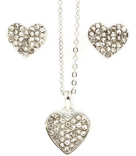 Pave Rhinestone Studded Elegant Heart Pendant Necklace & Stud Earring Set by Jersey Bling: Jewelry: Amazon.com