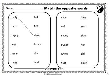 Opposites Worksheets, Games and Activities for ESL / ELL /EAL | My ...