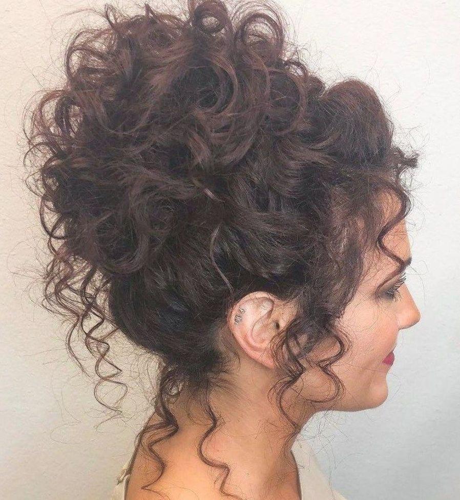 Voluminous High Curly Bun Updo Curly Hair Styles Naturally Curly Bun Hairstyles Curly Hair Styles