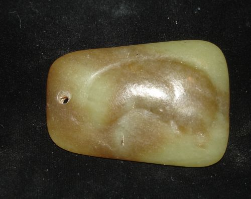 Beautiful JADE PRE-COLUMBIAN AXE GOD PENDANT  300BC!  WITH ANCIENT CARVING ON IT