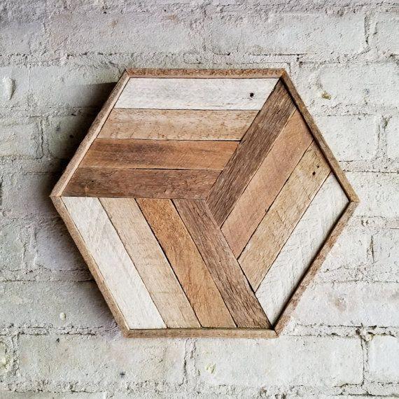 Arte de pared de madera reciclada cubo decoraci n - Paredes de madera decoracion ...