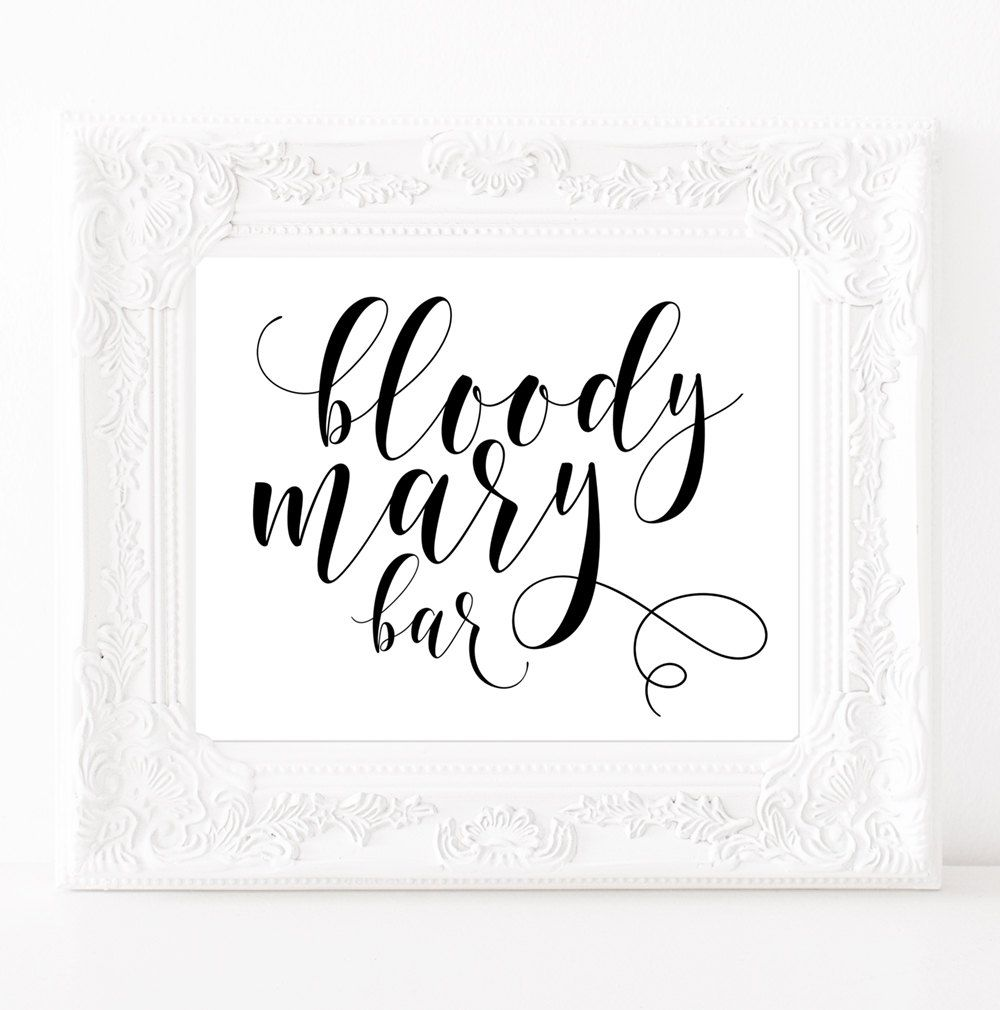 Bar Signs And Decorations Bloody Mary Bar Sign Bridal Shower Poster Bachelorette Weekend
