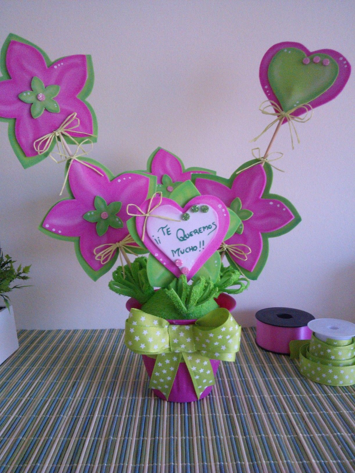 Maceta Con Flores En Goma Eva Para Mamá Flores En Goma Eva