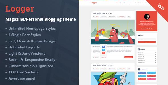 wordpress premium themes free download: Logger - Magazine/Personal ...