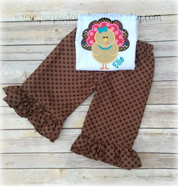 Fancy Girl Turkey With Matching Ruffle Pants - The Perfect Thanksgiving Outfit #thanksgivingoutfit
