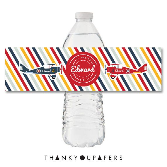 Airplane Water Bottle Label Airplane Labels Birthday Party