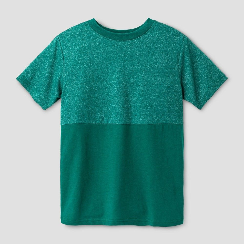 Boys' Short Sleeve Half Colorblock T-Shirt - Cat & Jack Green M