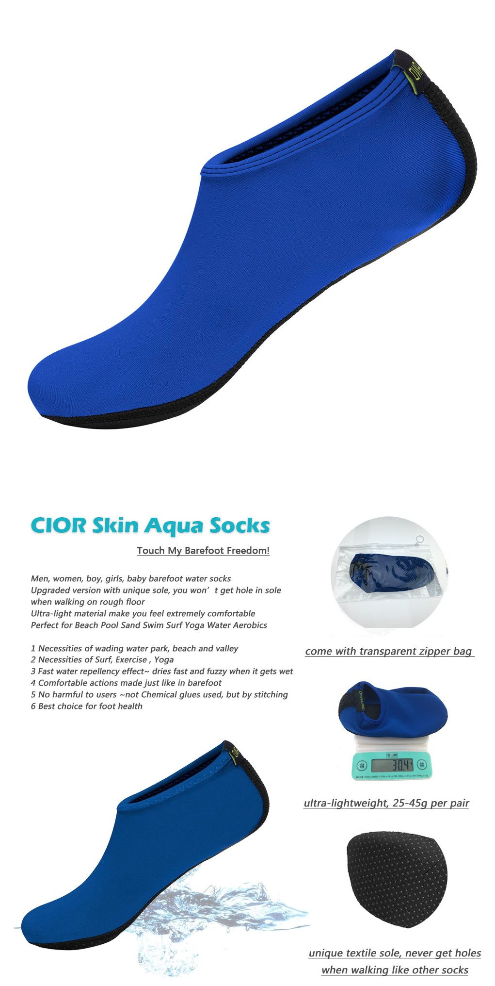 Upgraded Water Skin Shoes Aerobics Shoes Sole Barefoot Shoes Aqua Socks For Beach Swim Surf Yoga Exercise
