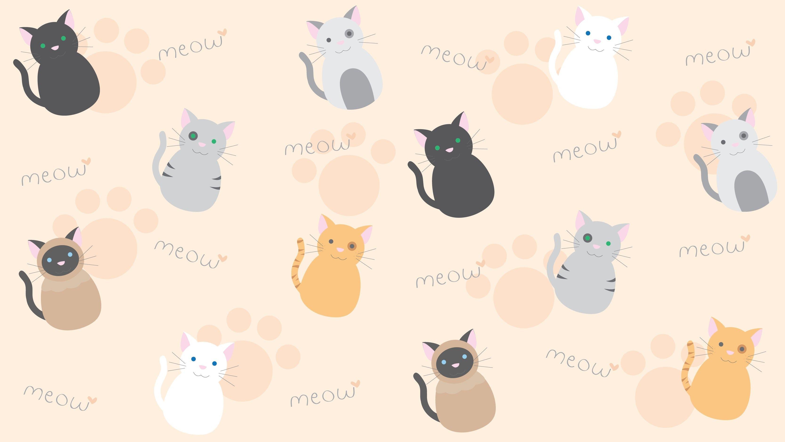 Res 3333x1875 Awesome Kawaii Animal Desktop Wallpaper Download Cat Kawaii Backgrounds Cat Wallpaper Kawaii Background Chibi Wallpaper
