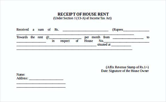 Receipt Of House Rent Free Doc Format Templates  Rent Invoice