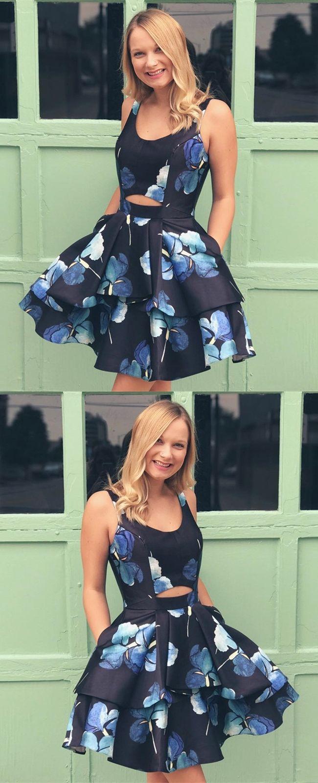 Aline scoop aboveknee navy blue printed homecoming dress with