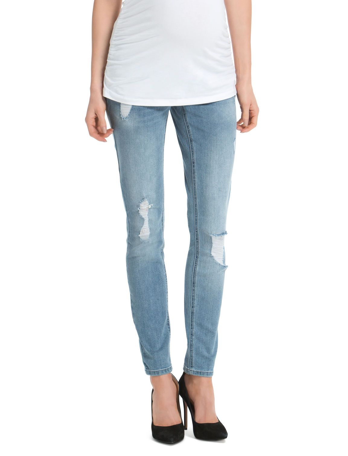 54c5d93f5a6bc The destructed jean | light wash secret fit belly 5 pocket skinny leg  maternity jean by Jessica Simpson available at Destination Maternity