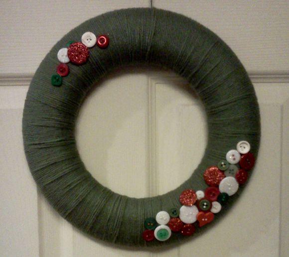 Styro wreath, yarn, buttons, pins