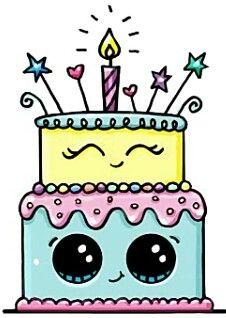 G teau d 39 anniversaire kawaii kawai pinterest kawaii - Dessin d anniversaire facile ...