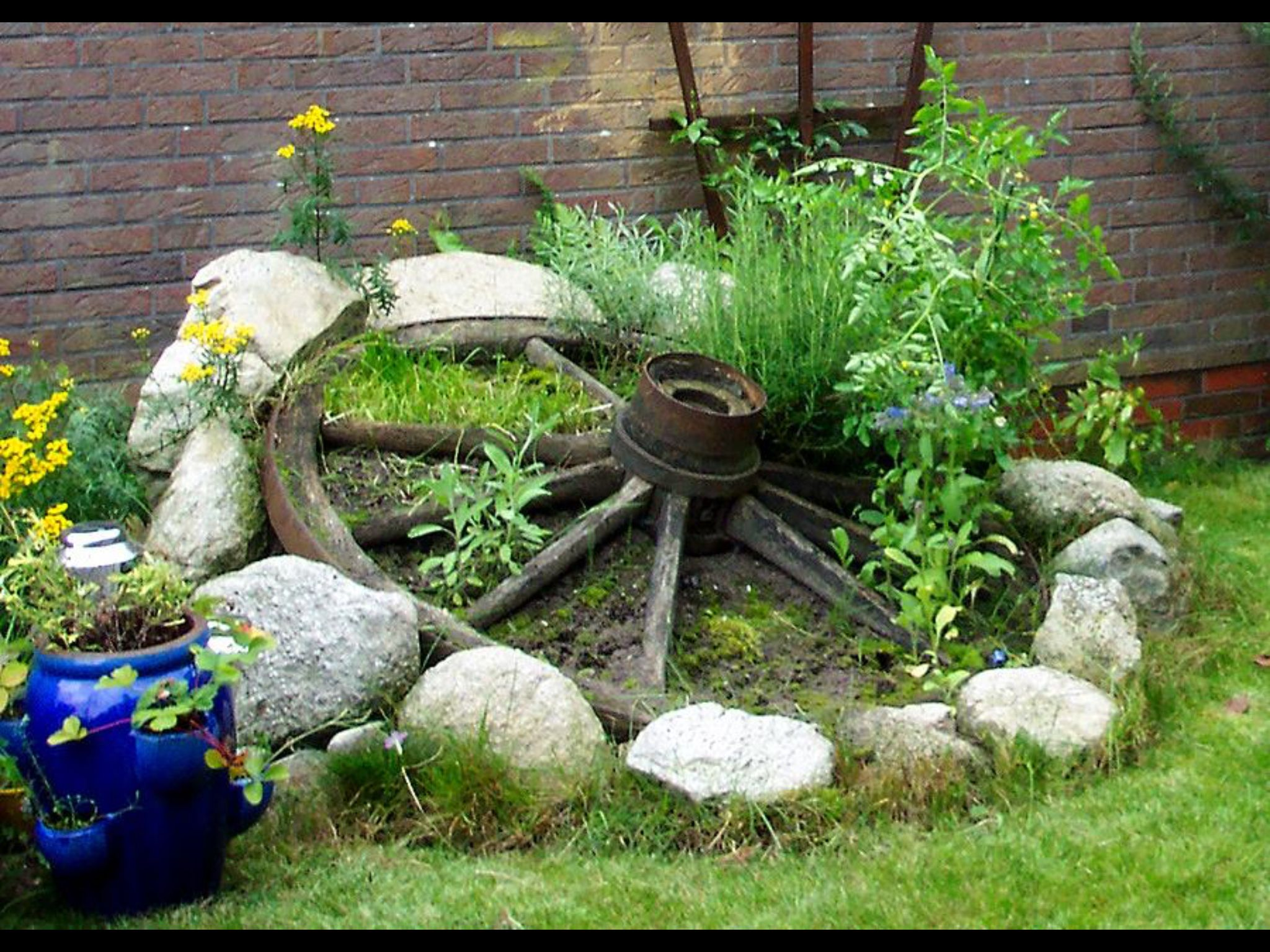 Krauter Im Wagenrad Garten Garten Hochbeet Vorgarten