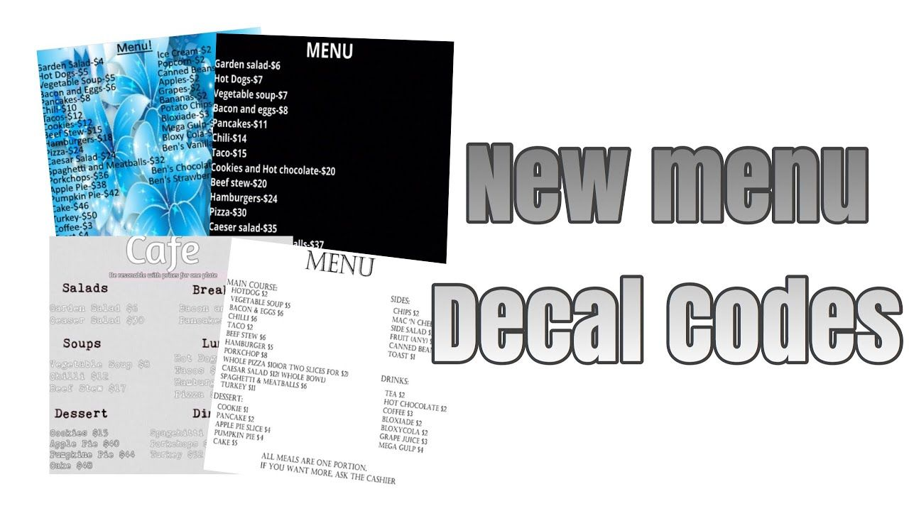 Roblox Bloxburg New Menu Decal Id S Youtube Cafe Sign Roblox Cafe Pictures