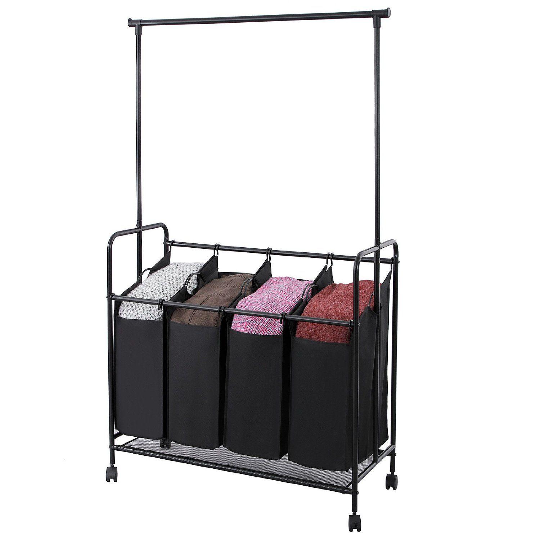 Amazon Com Songmics 4 Bag Rolling Laundry Sorter With Hanging Bar Heavy Duty Laundry Cart Hamper With 4 Wheels Larger Laundry Sorter Hanging Bar Laundry Cart