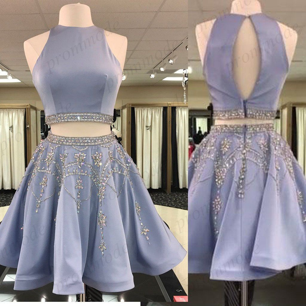 Shinning Two Piece Blue High Neck Homecoming Dresses With Beading,Short Prom Dre... 2