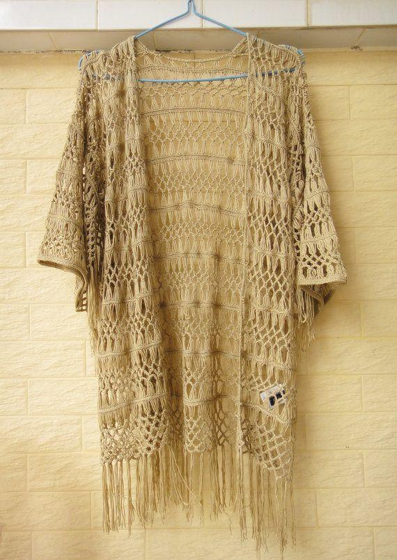 631507ca7630b3 Fringe Kimono Cardigan Plus Size Boho Beach by Tinacrochetstudio ...