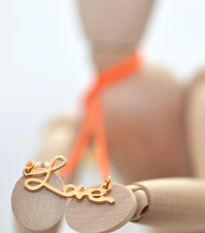 Love Necklace with Orange Fluorescent Chain - Love necklace - Florescent orange chain - Neon orange - Love Pendant. $28.00, via Etsy.