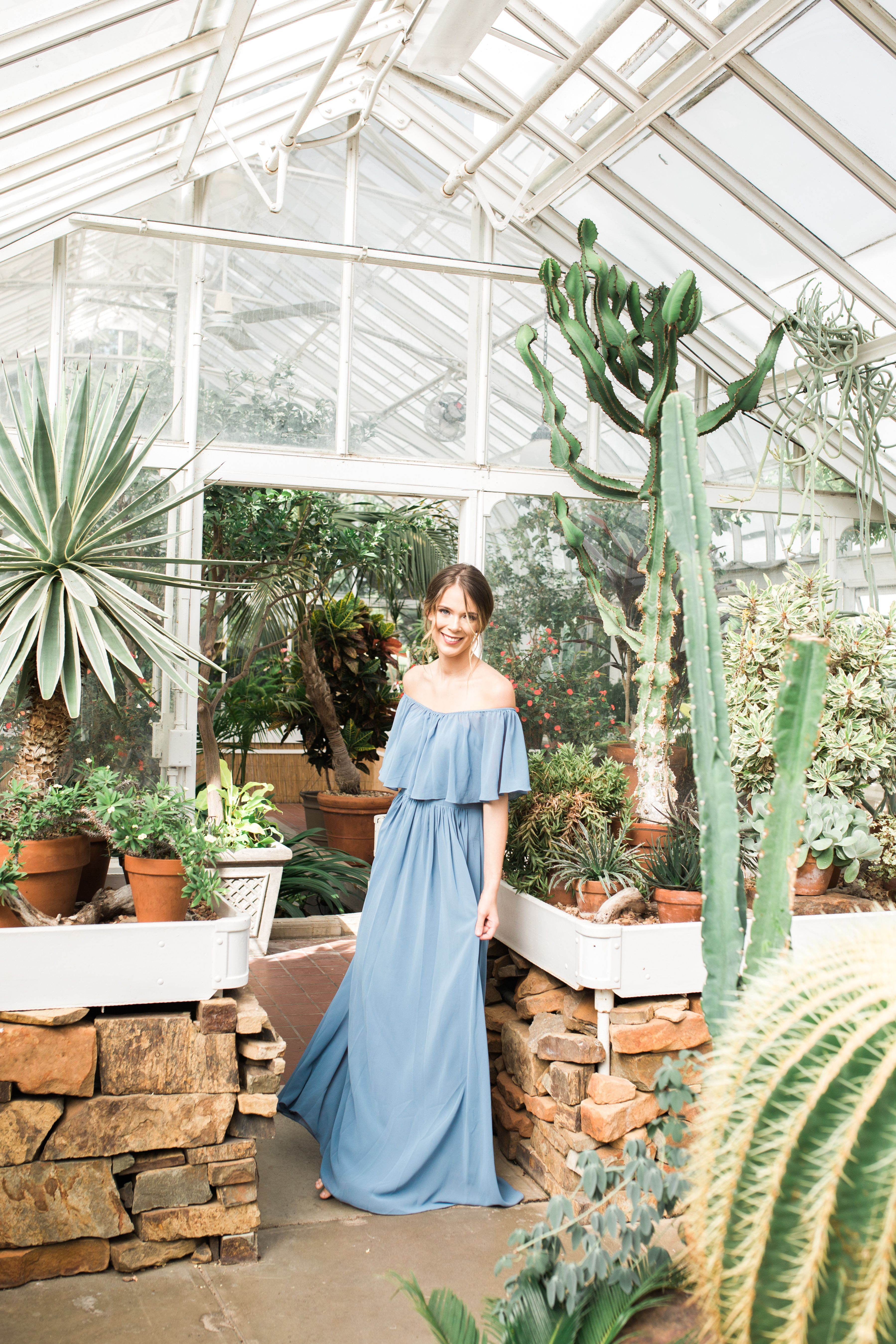 Chiffon off the shoulder blue bridesmaid dresses