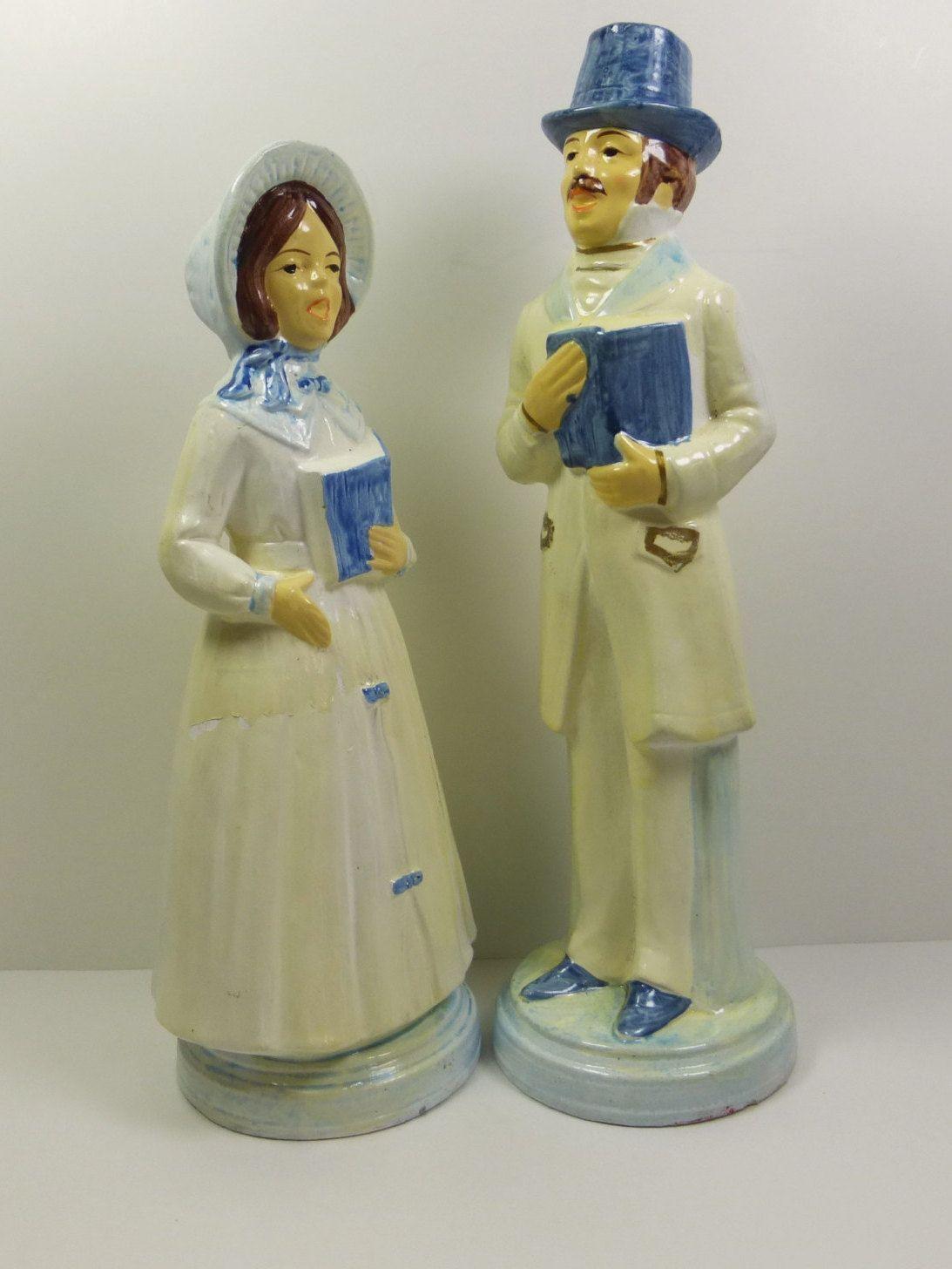 Christmas Carol Singers Figurines.Victorian Christmas Caroler Figurines 1960s Blue And White