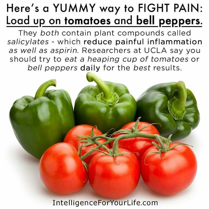 Reduce pain with bell peppers and tomatoes.