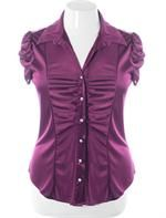 Plus Size Silky Diamond Purple Blouse, Plus Size Clothing, Club Wear, Dresses, Tops, Sexy Trendy Plus Size Women Clothes