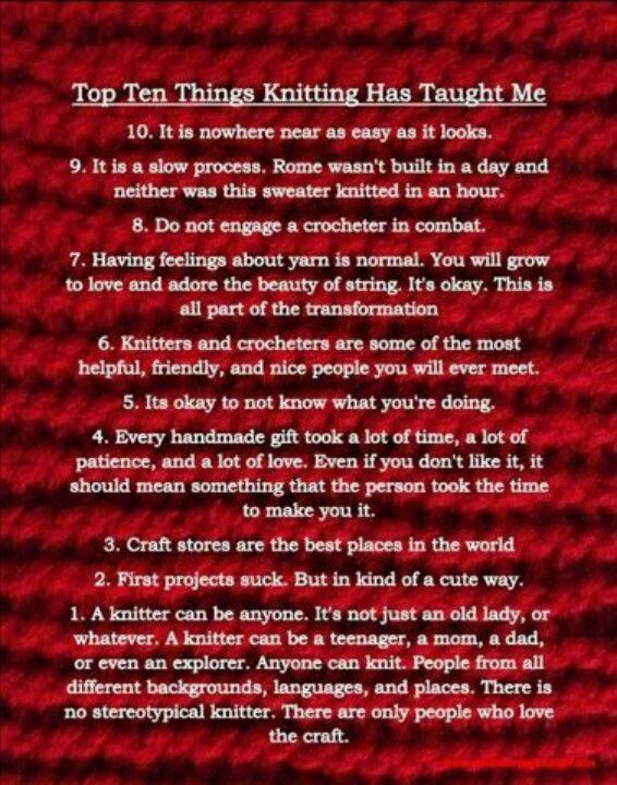 Things knitting has taught me