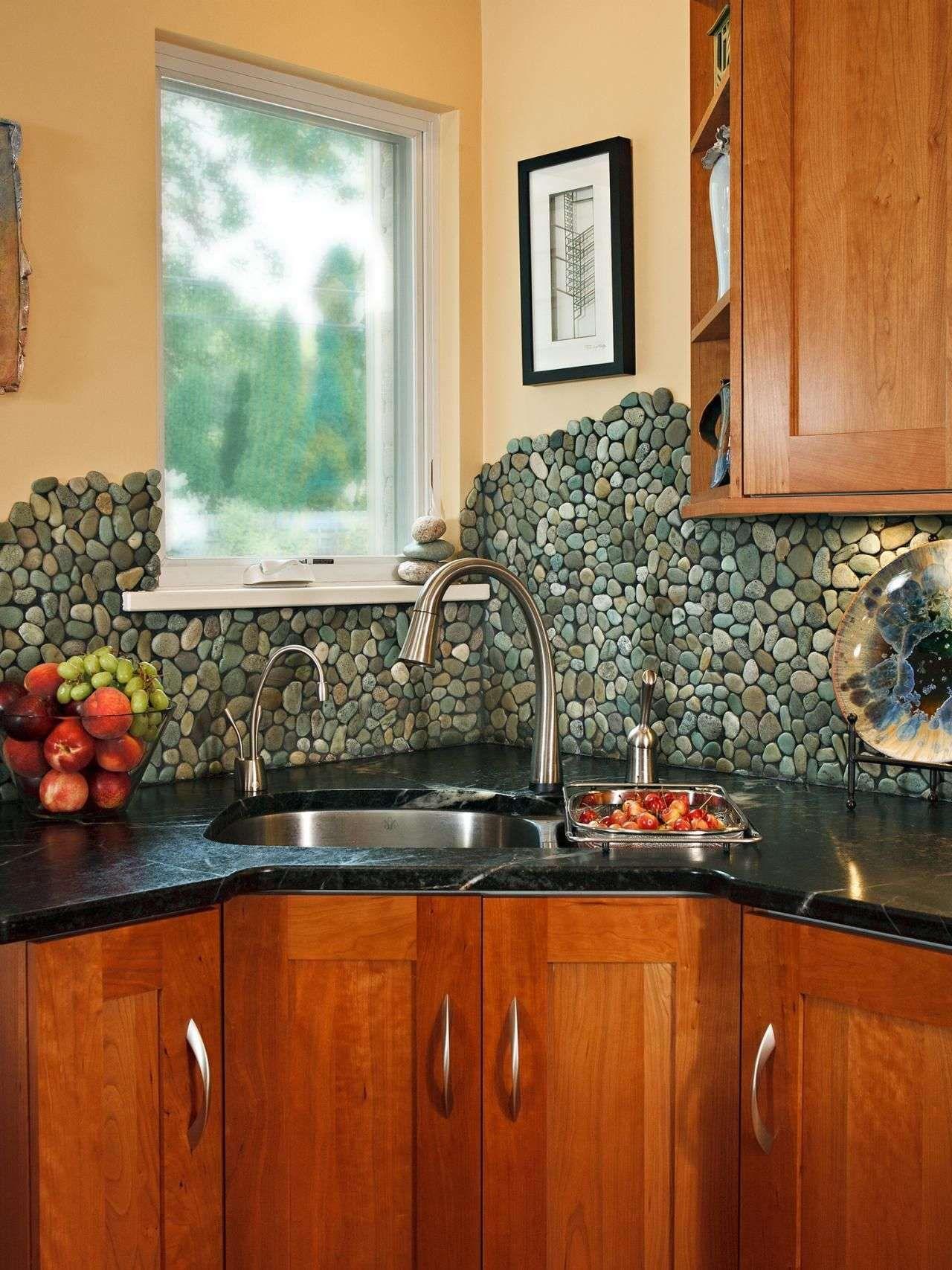 - River Rock Backsplash Kitchen 563 Best Bathroom Pebble Tile And