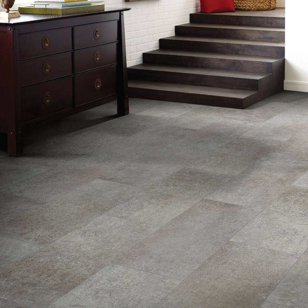 Shaw Vista Atlantic Grey 12 In X 24 In Luxury Vinyl Tile 15 83 Sq Ft Hd88105062 The Home Depot In 2020 Luxury Vinyl Tile Vinyl Tile Vinyl Tile Flooring