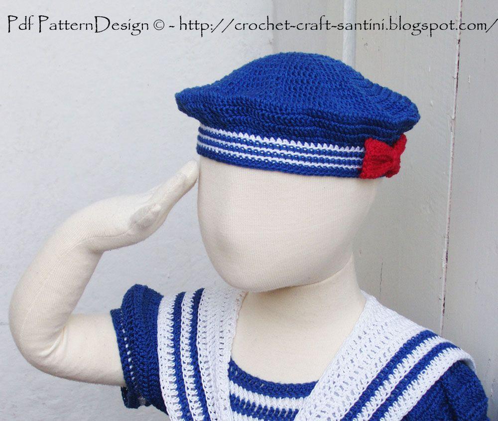 The Sailor Hat. Pattern Crochet & Craft | Tejido | Pinterest | Tejido