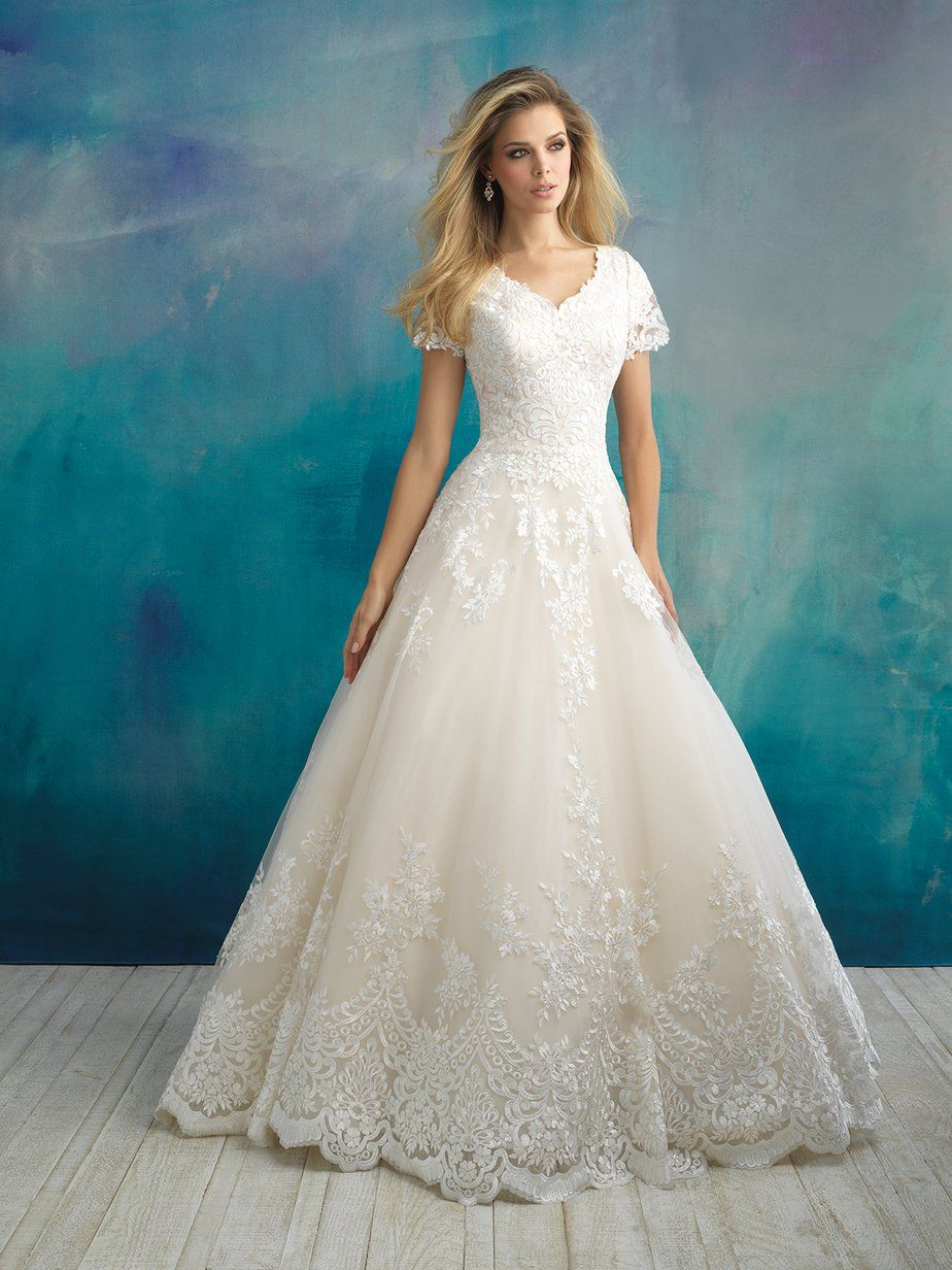 Allure Modest M596 in 2020 Modest wedding dresses