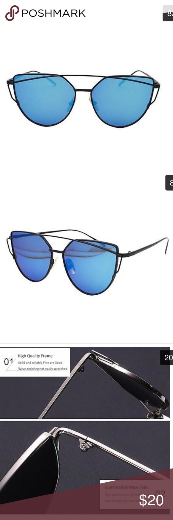 f3e2321e09 Flat Mirrored Lens Cat Eye Sunglasses Blue Black Oversized flat lens cat eye.  Resin and metal. UV400. Total width 143mm. Lens width 57mm. Frame height  52mm.