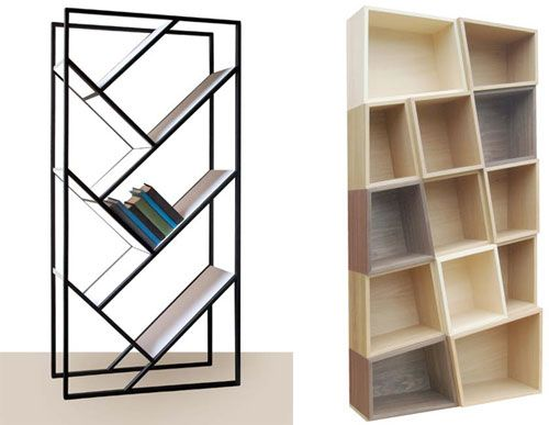 Slanted Bookcases The Puzzle Mix From Bloq And The V Bookcase From Faktura Bookcase Cool