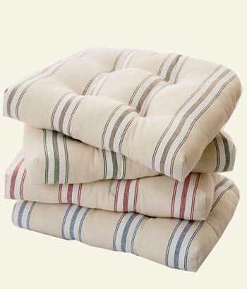 French Ticking Chair Pad In 2019 Kitchen Chair Pads