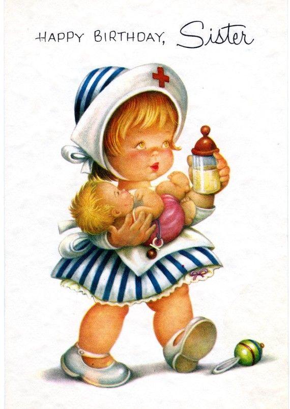 Chubby Cheek Baby Nurse Birthday Card To By Vintagepartypaper 300