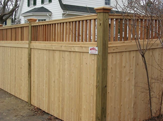 Privacy With Spaced Railing On Top Wood Fence Design Wood Fence