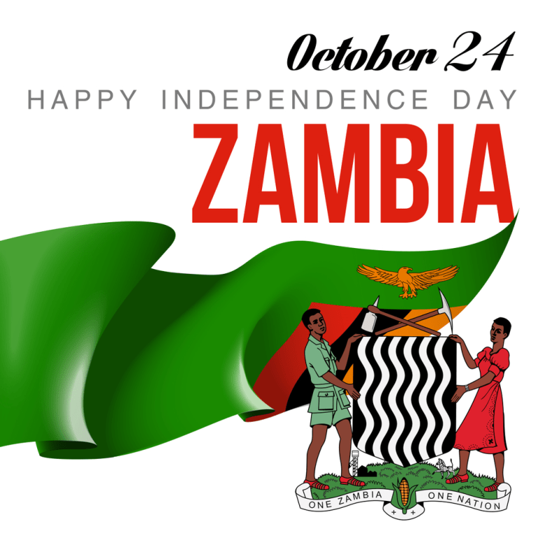 Card with flag and coat of arms Happy Republic of Zambia Day | Zambian  flag, Zambia flag, Zambia