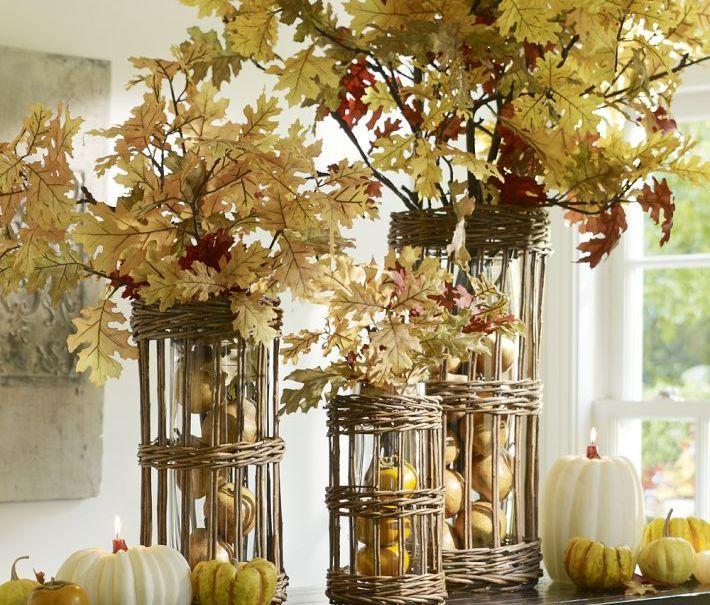 Decoraç u00e3o de folhas secas decoraç u00e3o de natal Arranjos de natal para mesa, Folhas de outono e  -> Decoração Festa Folhas De Outono