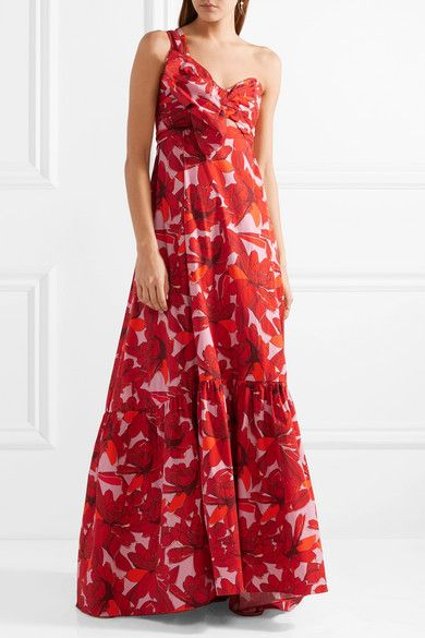 Cimarron One-shoulder Printed Cotton-blend Poplin Maxi Dress - Red Johanna Ortiz Zo32wOFBZ