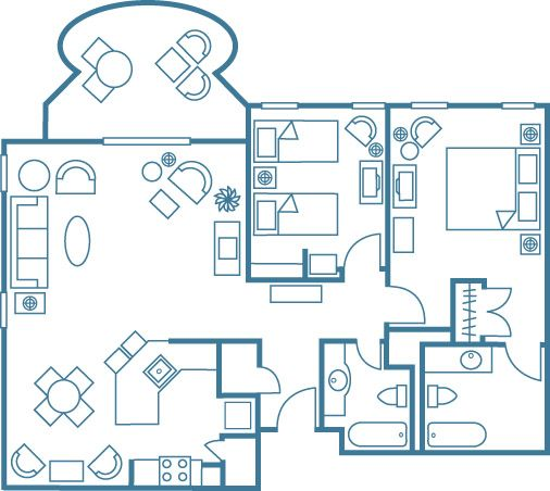 Two bedroom suite floor plan for hilton grand vacations at - 2 bedroom suites honolulu hawaii ...