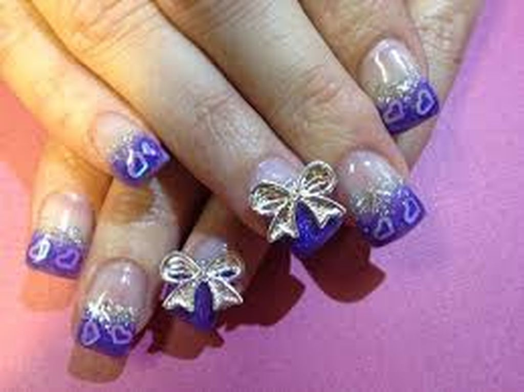 47 Cute Cool And Simple Bow Nail Art Design Ideas For Girls Bow