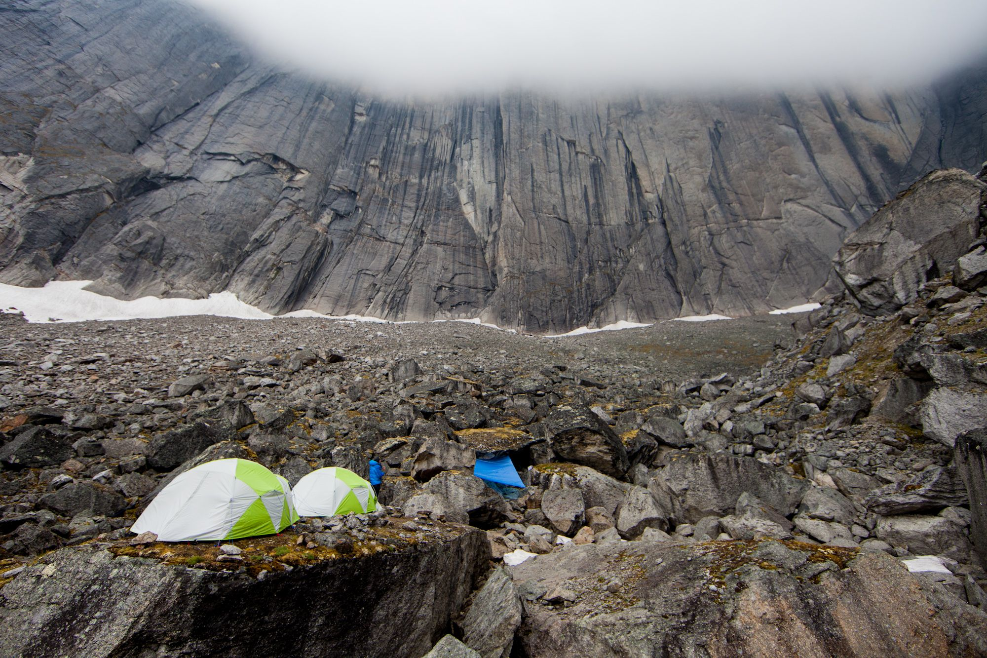 Huddled in Katabatic Tents, waiting out the weather at Mt.Proboscis base camp | #LiveYourAdventure #GearUpLoadUp