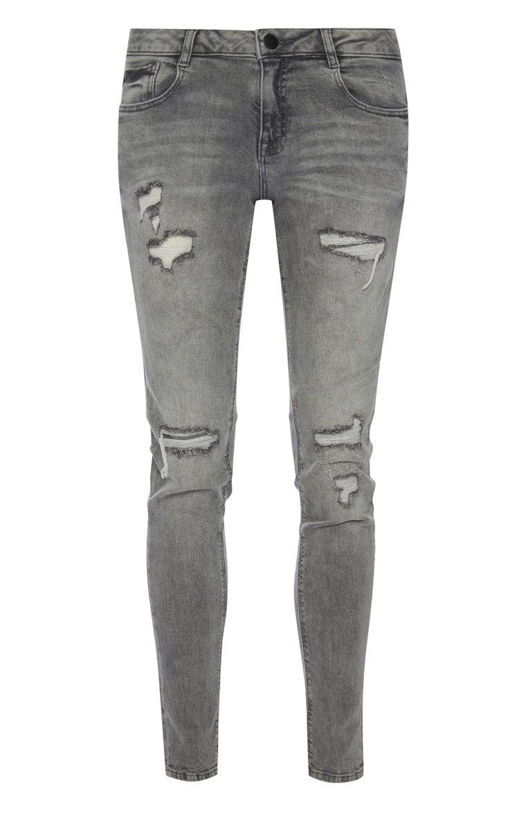 Primark - Grijze skinny jeans met scheuren