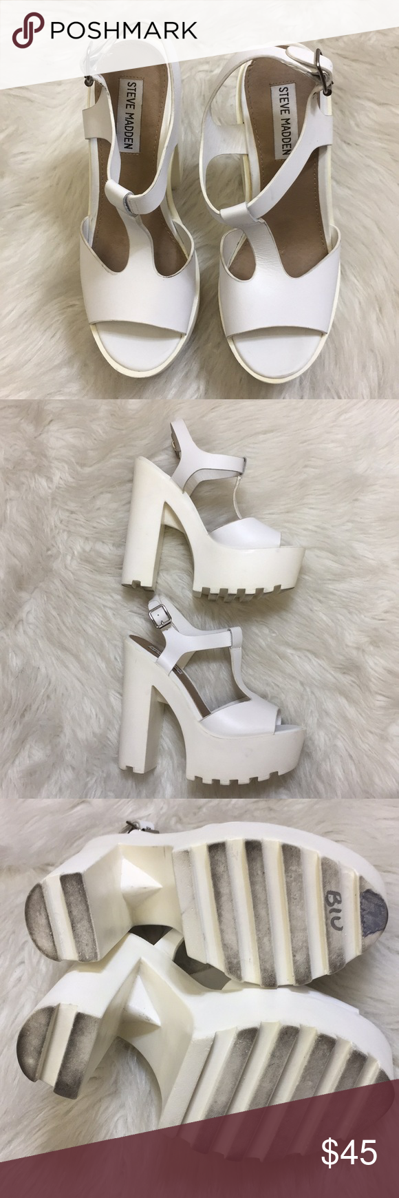 "3c16f9ee890 Steve Madden ""Girl Talk"" White Leather Shoes 6.5 Comfortable ..."