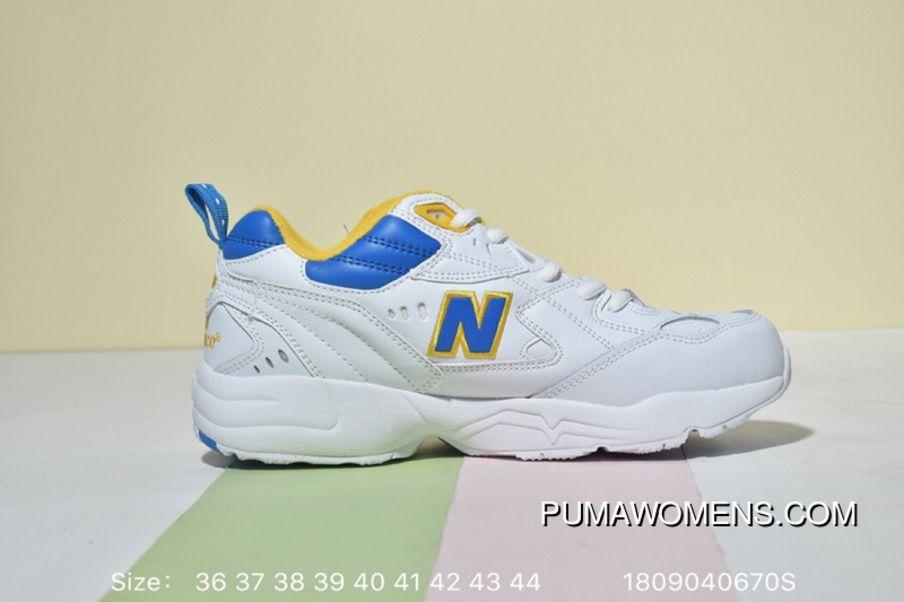 6eacca44507c8 Balance NB608 WX608WP1 Training Running Shoes Retro Korea Genuine Leather  White Powder Jogging Daddy Shoes White Blue Yellow New Style