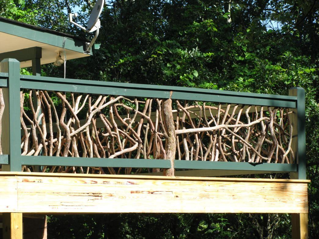 Deck railing mountain home outdoor deck pinterest for Garden decking banister