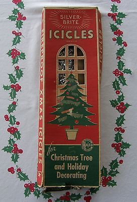 OLD BOX OF VINTAGE SILVER BRITE LEAD TINSEL ICICLES FOR CHRISTMAS ...