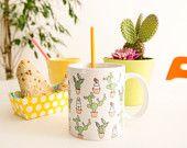 """Mug """" cactus"""" ilustrado por Les généreuses."""